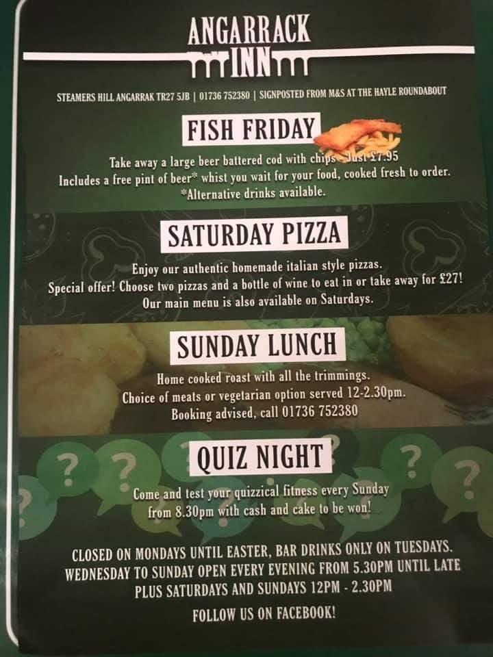 Fish Friday Saturday Pizza Sunday Lunch Quiz Night